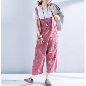 72d7afdd888 Flowers Printed Cotton Linen Wide Leg Jumpsuits Summer Casual Rompers