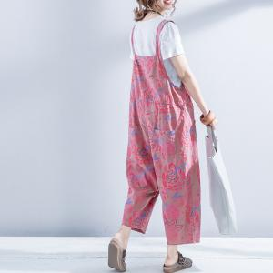 Flowers Printed Cotton Linen Wide Leg Jumpsuits Summer Casual Rompers