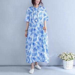 Blue Prints Linen Oversized Shirt Dress Ruffle Waist Girlish Vacation Dress