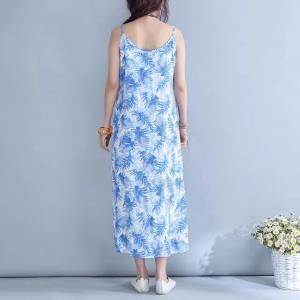 Beach Style Chinese Buttons Linen Slip Dress Printed Spaghetti Strap Dress