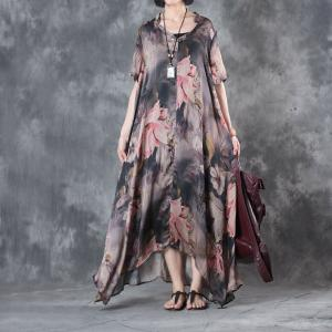 Latest Fashion Flowers Prints Plus Size Maxi Dress Designer Vintage Dress With Camisole