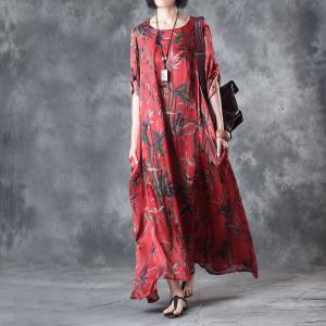 Bamboo Prints Silk Satin Vintage Dress Womans Plus Size Elegant Dress