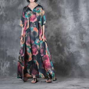 Chinese Buttons Hibiscus Prints Vintage Dress Customized Plus Size Maxi Dress