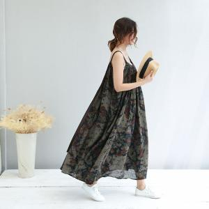 Beach Style Cotton Linen Plus Size Maxi Dress Ink Painting Pregnancy Dress
