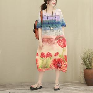 Chinese Ink Painting Buttons Decoration Linen Dress Loose Swing Dress