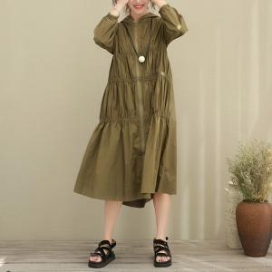 2017 Autumn Draped Waist Hooded Dress Elegant Cotton Dress