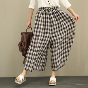 Classic  Style Ramie Plaid Trousers Womans Wide Leg Pants