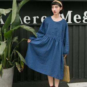 Girlish Pleated Chest Loose Linen Dress Autumn Blue Dress