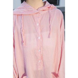 Korean Style Pinstriped Pink Hooded Dress Front Pockets Oversized Shirt Dress