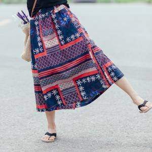 New Arrival Ethnic Printed Linen Folk Trousers Womans Wide Leg Pants
