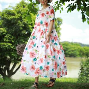 Hibiscus Printed Draped Waist Holiday Dress Plus Size Summer Clothing