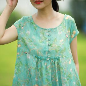 Loose-Fitting Linen Floral Dress Girlish Flare Dress