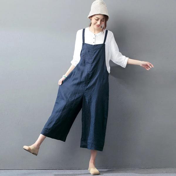 2017 Latest Fashion Plus Size Linen Overalls Wide Leg ...