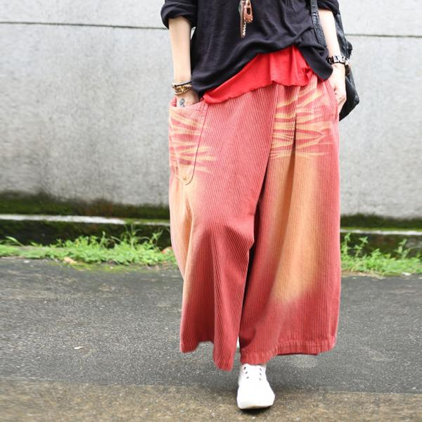 Latest Fashion Color Striped Baggy Trousers Womans Wide Leg Pants