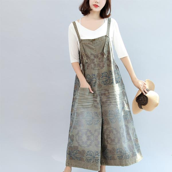Folk Style Front Pockets Printed Casual Jumpsuits Summer Wide Leg Jumpsuits