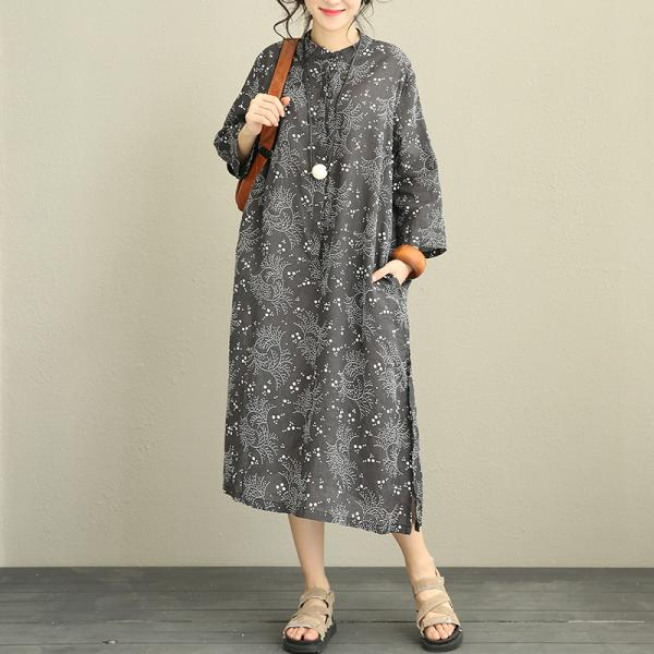 2017 Autumn Loose Linen Dress Side Slit Floral Black Dress