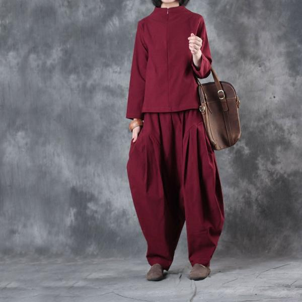 New Arrival Front Zip Cotton Elegant Top With Red Genie Pants