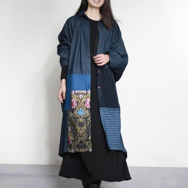 Folk Style Floral Embroidery Designer Cardigan Denim Plus Size Womens Coat