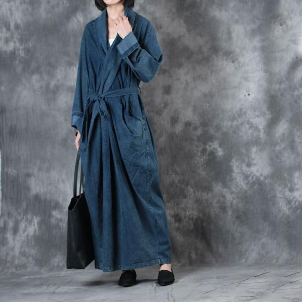 Ladylike Front Cross Denim Dress Back Slit Belted Fashion Fall Dress