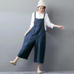 2017 Latest Fashion Plus Size Linen Overalls Wide Leg Korean Jumpsuits