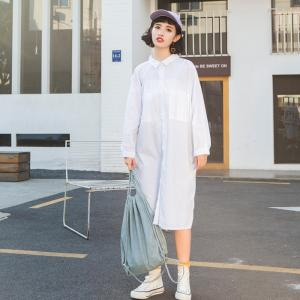 Korean Fashion Back Letter Oversized Shirt Dress Casual White Dress