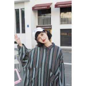Straight Pockets Striped Long Blouse Womans Vintage Plus Size Shirt Dress
