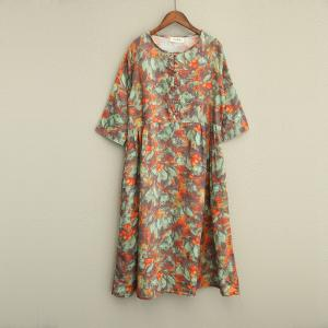 New Arrival Flowers Prints Vintage Fall Dress Womans Plus Size Maxi Dress