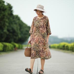 Vintage Prints Loose Cotton Linen Clothing Summer Swing Dress