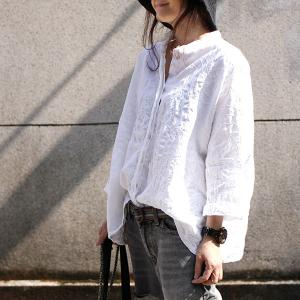 Plus Size Linen Embroidered Blouse Womans Autumn White Blouse