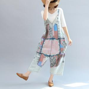 Beautiful Ethnic Prints Cotton Jumpsuits Womans Plus Size Casual Jumpsuits