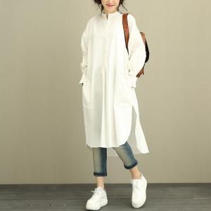 Asymmetric Side Slit Oversized Shirt Dress Designer White Dress