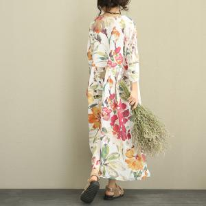 New Arrivals Flowers Prints Linen Colorful Dress Plus Size Maxi Dress