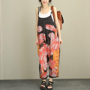 Big Flowers Plus Size Cotton Casual Jumpsuits Womans Plaid Fashion Overalls