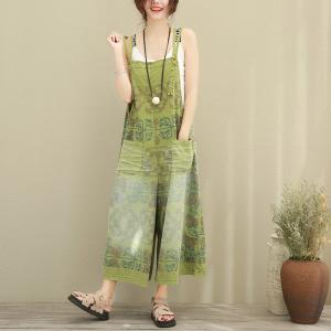 Retro Style Chinese Ethnic Jumpsuits Front Pockets Casual Green Jumpsuits
