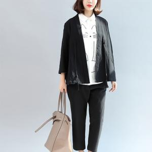 OL Style Lace-Up Cotton Black Outerwear Womans Tassel Short Coat