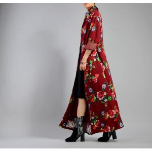 High-End Rose Prints Designer Coats Cotton Linen Womans Customized Outerwear