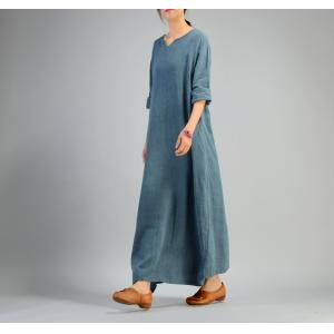 Simple Design Cotton Linen Loose Dress Plain Holiday Dress