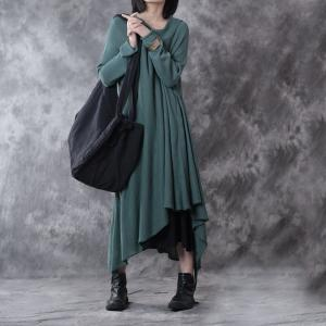 Vintage Style Asymmetric Linen Knit Dress Womans Loose Fall Dress