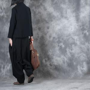 Fall Collection Front Zip Black Pullover With Baggy Palazzo Pants