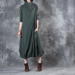 Original Design Turtleneck Balloon Dress Customized Fit And Flare Dress