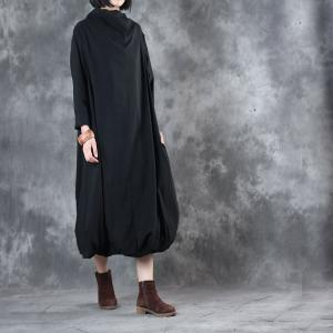 Loose-Fitting Turtle Neck Elegant Black Dress Autumn Designer Dress