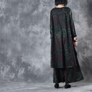 New Arrival Ethnic Prints Vintage Hoodie With Baggy Trousers
