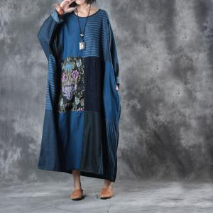 Retro Style Blue Contrast Floral Kaftan Dress Plus Size Denim Dress