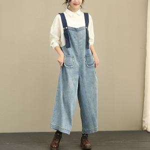 2017 Autumn Loose Denim Jumpsuits Womans Fashion Casual Jumpsuits