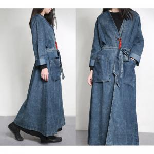 Latest Fashion Drawstring Waist Denim Coat Vintage Plus Size Outerwear