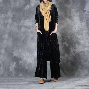 High-Quality Vertical Pockets Long Cardigan With Pleuche Baggy Trousers