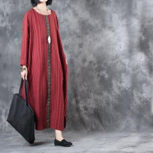 2017 Fall Fashion Chinese Button Kaftan Dress Plus Size Folk Dress