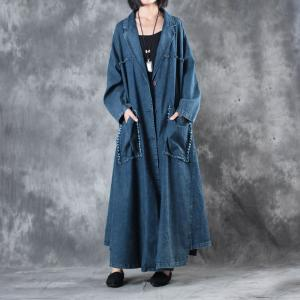 New Arrival Vertical Pockets Denim Trench Coat Womans Plus Size Duster Coat