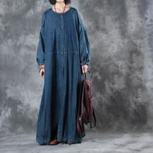 New Arrival Singe-Breasted Plus Size Maxi Dress Womans Denim Outerwear
