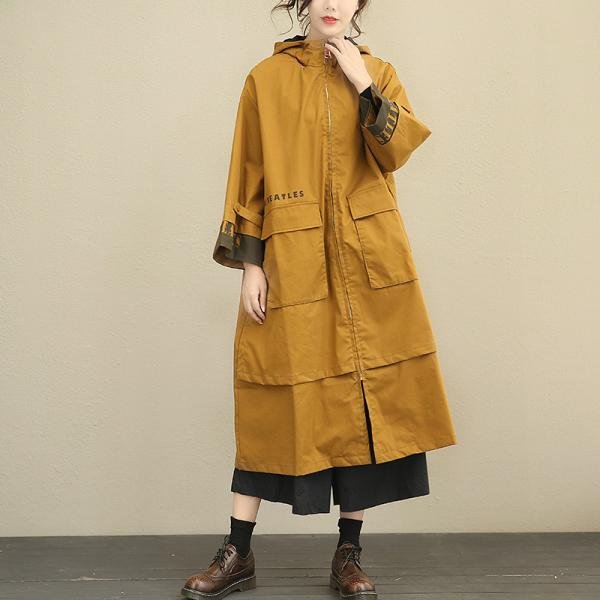 New Arrival Letter Prints Fashion Hooded Coat Contrast Color Womans Trench Coat